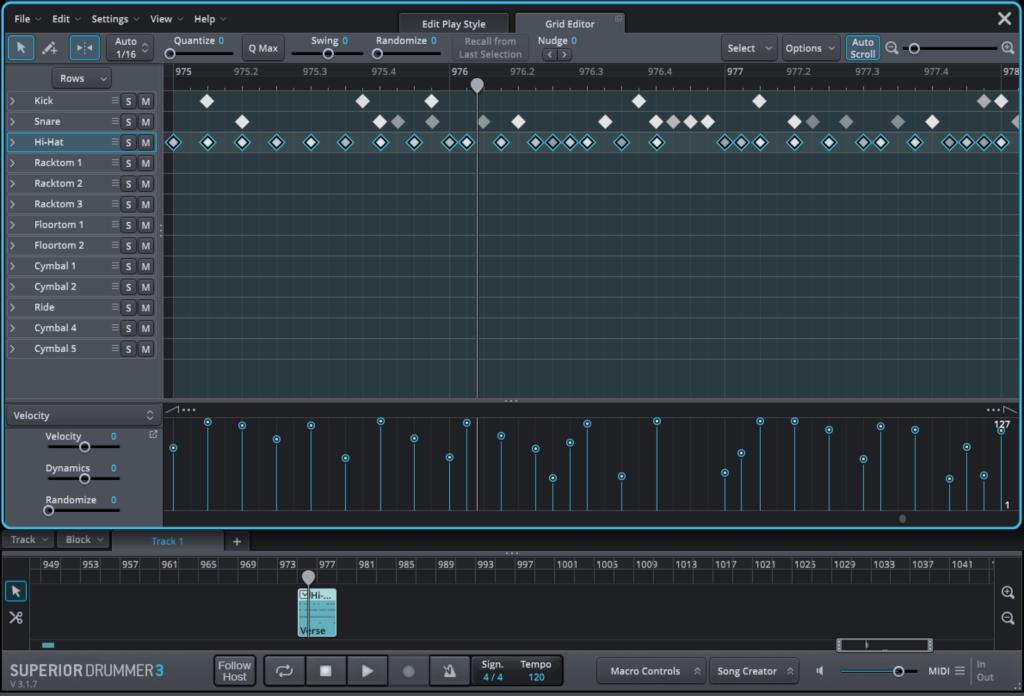 Superior Drummer 3 MIDI editor